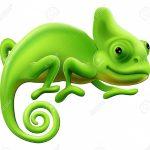 zelený chameleon.