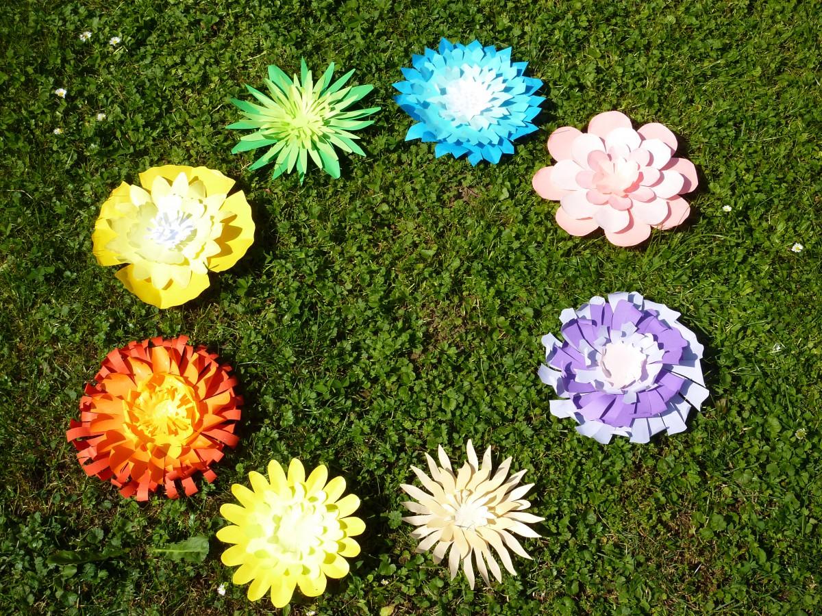 barevné papírové květiny
